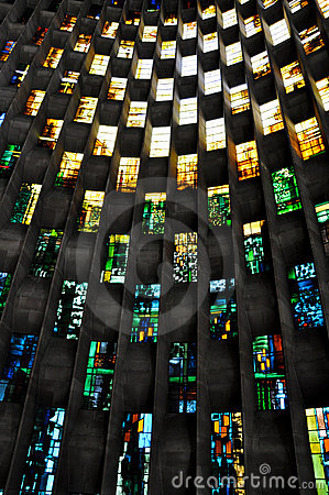 Free Stained Glass Wall, Coventry Cathedral Stock Photography - 19144752