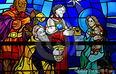 Stained Glass Window of the Three Wise Men Giving Gifts