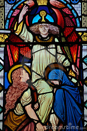 Stained Glass Window Angel, Virgin Mary and Saint