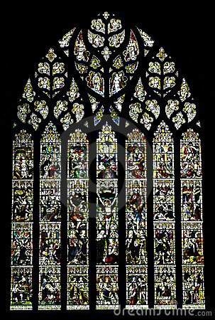 Stained glass window in Chester Cathedral, UK