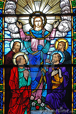 Stained glass window of Christ and his disciples