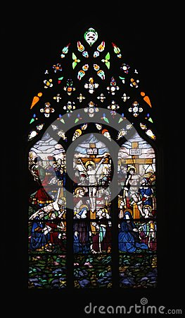 Stained Glass Window Crucified Jesus Christ