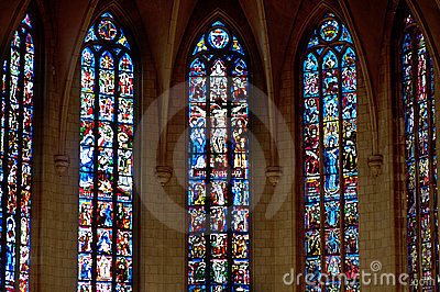 Stained glass window. depicting