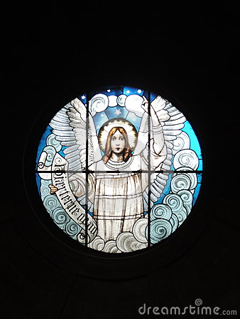 Free Stained Glass Window Depicting An Angel Stock Image - 76384581