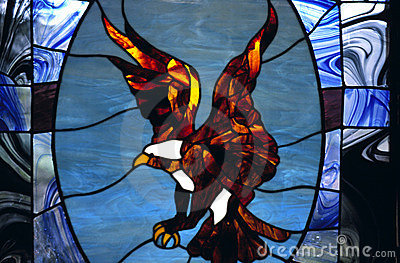 Stained Glass Window With Eagle In Chapel