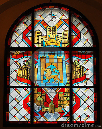 Stained glass window with emblem