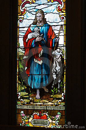 Stained glass window The Lord is my Shepherd
