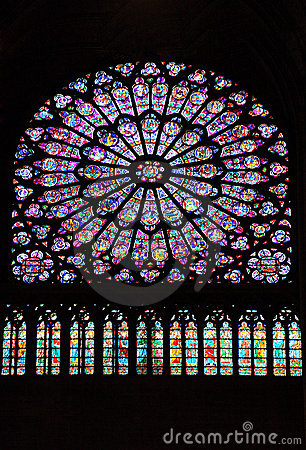 Stained glass window in Notre dame cathedral, Pari
