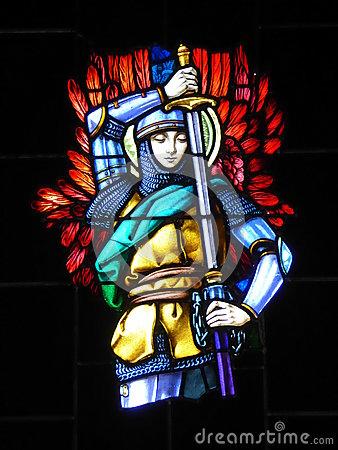 Free Stained Glass Window Of Knight In Church Stock Images - 79110264