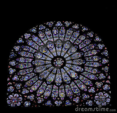 Free Stained Glass Window Of Notre Dame, Paris Royalty Free Stock Image - 4591876