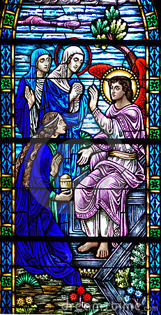 Stained glass window of Resurrection Angel