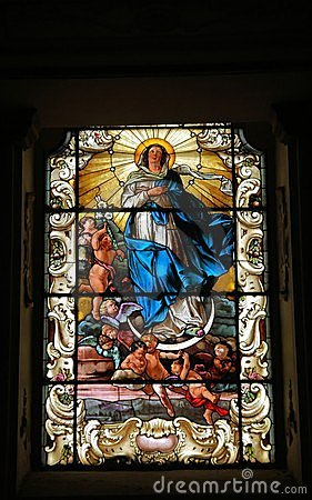 Stained glass window saint
