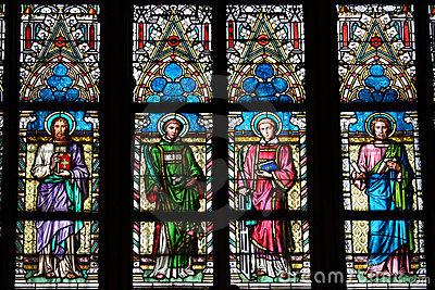 Stained-glass window in St.Vitus cathedral in Prag
