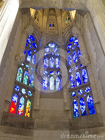 Free Stained Glass Windows In Sagrada Familia In Barcelona 0556 Stock Photos - 58091753