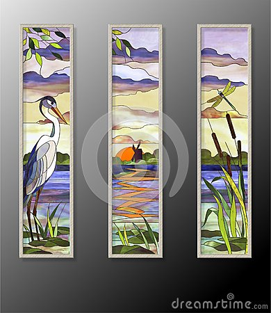 Free Stained Glass With Heron Royalty Free Stock Images - 71428079