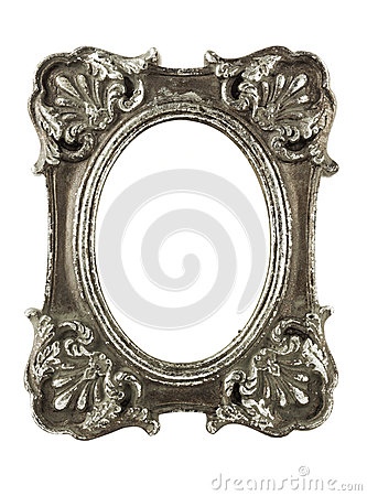 Free Stained Oval Silver Picture Frame W/ Clipping Path Royalty Free Stock Image - 27587156