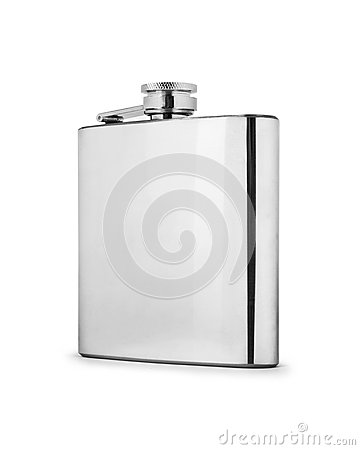 Free Stainless Hip Flask Isolated On White Background Stock Photo - 73161650