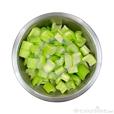 Free Stainless Steel Bowl Filled With Chopped Celery Stock Image - 38402561