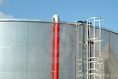 Stainless steel industrial tank of fuel