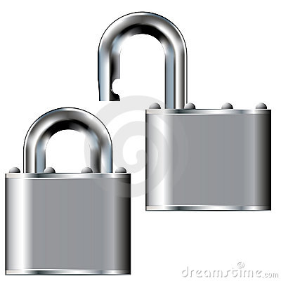Stainless steel padlock - vector