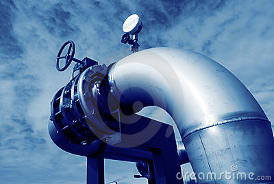 Stainless steel pipelines valves blue sky