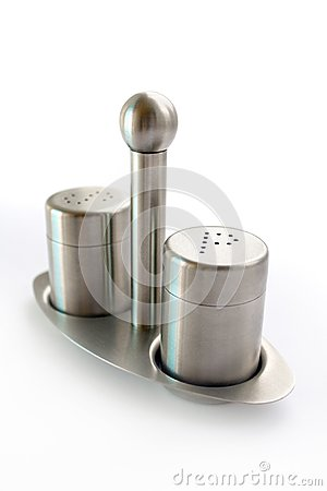 Stainless steel set of salt and pepper