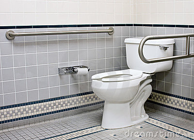 Stainless support bars in handicap bathroom