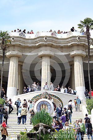Stair and colonnade at park guell Editorial Stock Image