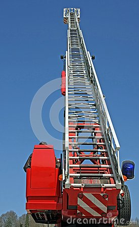 Stair riser and blue truck Siren of firefighters during an emerg