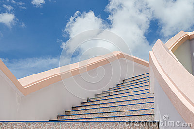 stair to blue sky.