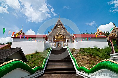 Stair up to church at Wat Kaolam temple