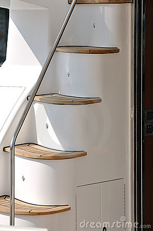Stair of yacht in detail