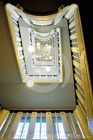 Free Staircase And Ceiling Lamps In Perspective Royalty Free Stock Photos - 103404478