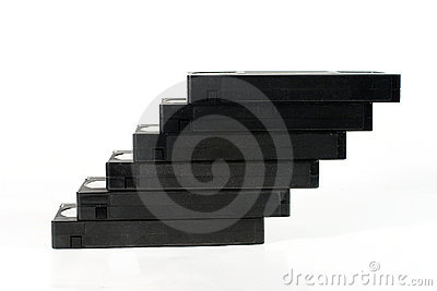 """""""Staircase"""" of old video tapes"""
