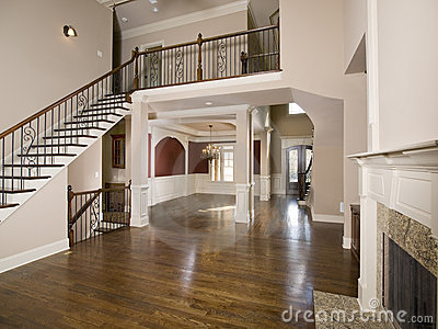 Staircase to Luxury Living Room Wide view