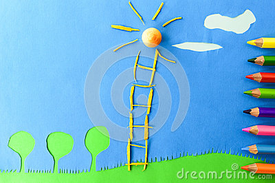 Children`s play :staircase to the sun