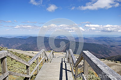Wooden Stairs Overlooking the Mountains of New Hampshire