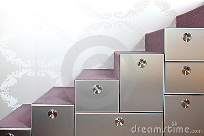 Stairs with and drawers in the modern home