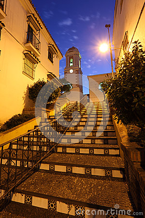 Stairs in Estepona at night. Spain
