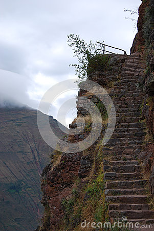 Stairs Inca Pisac archaeological park