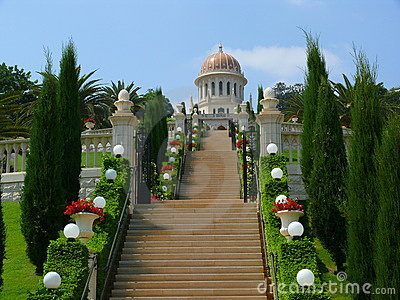 Stairs leading to Bahai temple