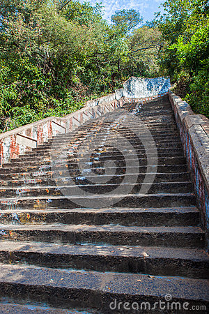 Stairs leading to a temple