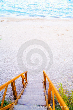 Stairs leading to water