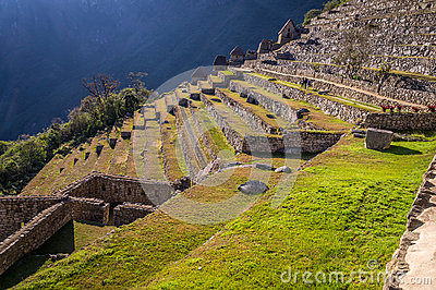 Stairs at Machu Picchu Inca city, Peru Stock Photo
