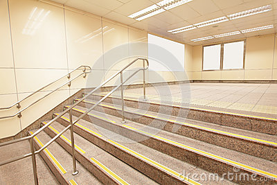 Stairs at a metro railway station