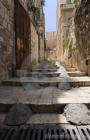 Stairs in the old city of Jerusalem