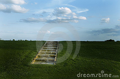 Stairs on an Open Hillside