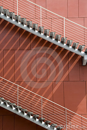 Stairs And Red Wall Royalty Free Stock Image - Image: 8731986