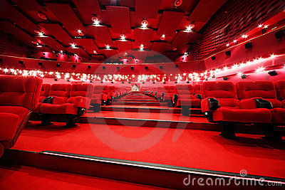 Stairs between rows of chairs in cinema
