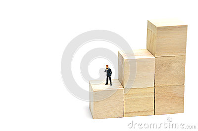 Stairs of square blocks and Businessman.